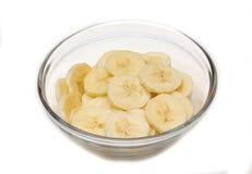 Banana slices on bowl Royalty Free Stock Photos