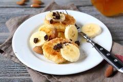 Banana slices on curd pancake Stock Photo