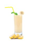 Banana slices and juice Stock Images