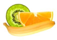 Banana and slices of kiwi and orange isolated on white Royalty Free Stock Images