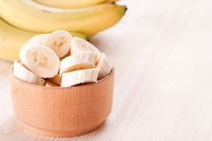 Banana slices in a plate Royalty Free Stock Photography