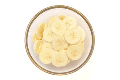 Banana slices on top bowl Royalty Free Stock Images