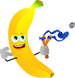 Banana with a slingshot Stock Photos