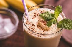Banana smoothie closeup Stock Image