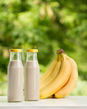 Banana smoothie in glass bottle on green background. Stock Photos