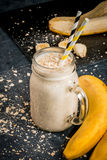 Banana smoothie with oatmeal Stock Photo
