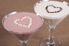 Banana smoothie and  raspberry smoothie  . Stock Images