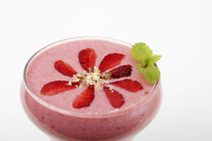 Banana smoothie with strawberries Stock Photography