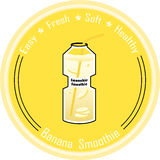 Banana smoothie. In transparent bottle Stock Image