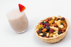 Banana smoothie with walnuts Royalty Free Stock Images