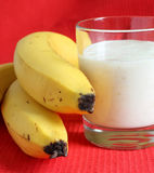 Banana smothie in a glass Stock Photos