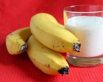 Banana smothie in a glass Stock Images