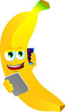 Banana speaking on a smartphone while reading a tablet Royalty Free Stock Photos