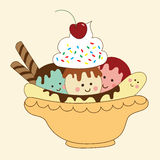 Banana split Illustration Stock