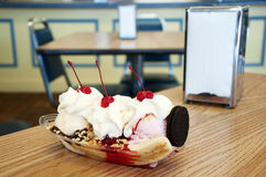Banana Split Dessert on Table Royalty Free Stock Photos