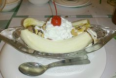 Banana split with spoons Stock Image