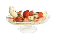 Banana split on white background Royalty Free Stock Images