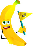 Banana sports fan with flag Royalty Free Stock Images