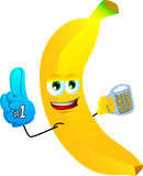 Banana sports fan with glove and beer Stock Image