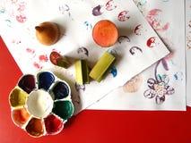 Banana stalk stamping. Banana stalk colorful stamping kids art Stock Illustration