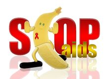 Banana and stop aids Royalty Free Stock Photography