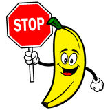 Banana with Stop Sign Stock Image