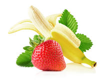 Banana with strawberrie isolated on the white background Stock Photo