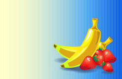 Banana strawberry background in retro style with place for text Stock Images