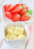 Banana and strawberry Royalty Free Stock Photos