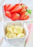 Banana and strawberry Royalty Free Stock Photos