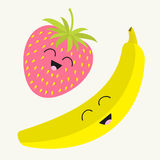 Banana and strawberry. Happy fruit set. Smiling face. Cartoon smiling character with eyes. Friends forever. White background. Flat Stock Photo