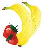 Banana and strawberry illustration Stock Image