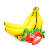 Banana and strawberry isolated Royalty Free Stock Images