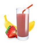Banana-strawberry juice Royalty Free Stock Photos