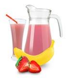 Banana-strawberry juice Stock Images