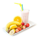 Banana and strawberry milkshake Royalty Free Stock Images
