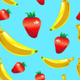 Banana strawberry seamless vector pattern on blue background Royalty Free Stock Photography