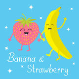 Banana and strawberry. Sparkles on blue. Happy fruit set. Smiling face. Cartoon smiling character with eyes. Friends forever. Baby Stock Photos