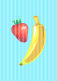 Banana and strawberry vertical vector illustration in pop art style Royalty Free Stock Photo