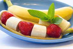 Banana and streawberry Stock Photos