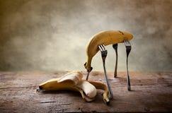 Banana sulle forcelle Fotografia Stock