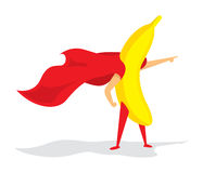 Banana super hero standing with cape Royalty Free Stock Image