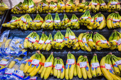 Banana in supermarket. Some perfect bunch of bananas in a Chinese supermarket royalty free stock photo