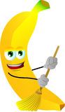 Banana sweeping with broom Royalty Free Stock Photo