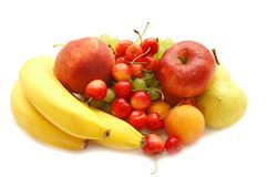 Banana, sweet cherry, apple Royalty Free Stock Photos