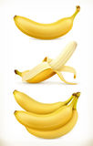 Banana. Sweet fruit. 3d vector icons set. Realistic illustration Royalty Free Stock Image