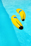 Banana in swimming pool Royalty Free Stock Photo
