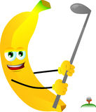 Banana swinging his golf club Stock Image
