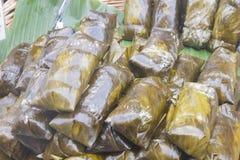Banana tailandesa no arroz pegajoso imagem de stock royalty free