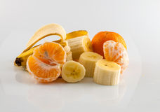 Banana and tangerine. Isolater on white background Stock Photo